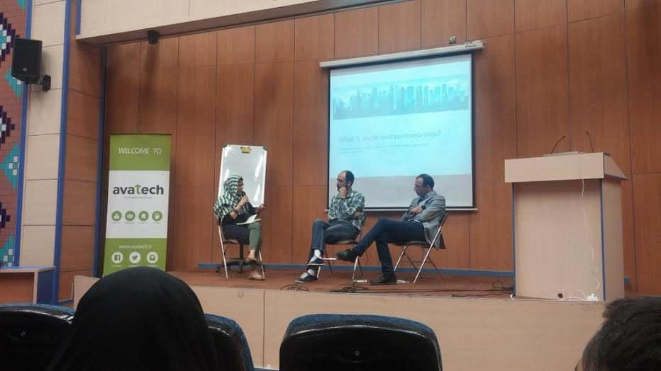 Photo from a social innovation event that Azadeh hosted in Tehran last April at a private accelerator (Avatech)