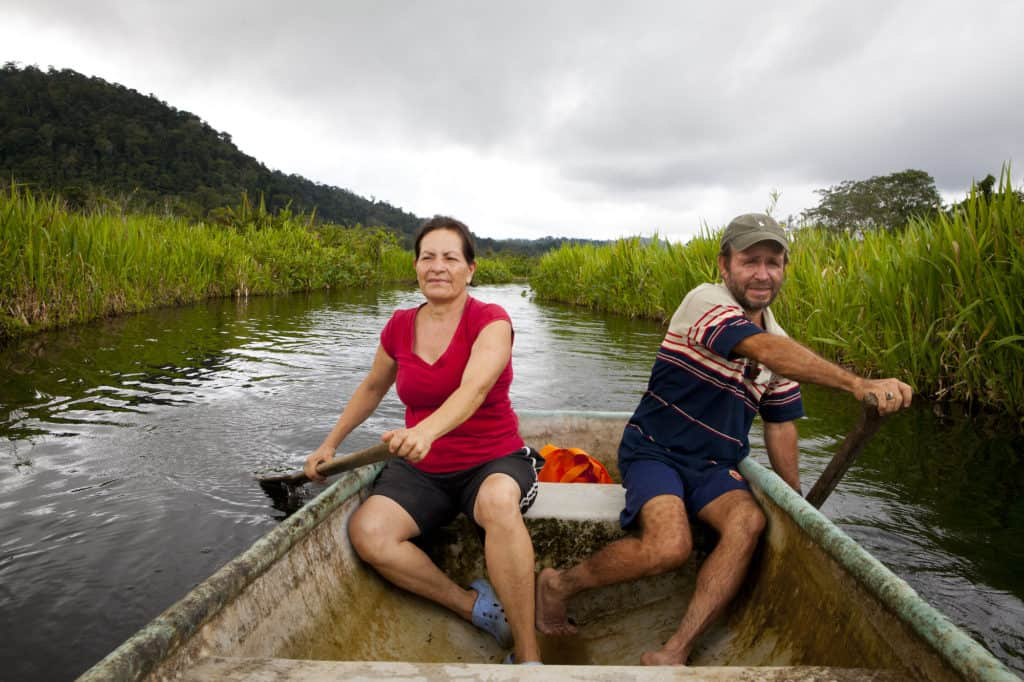 Osa Residents and 2.5 characters Carlos and Mayra on the Laguna Chocuaco canoe tour