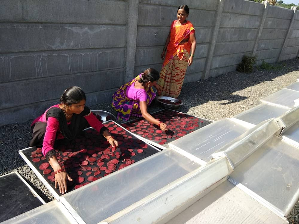 Solar powered food conservation for farmers in India.