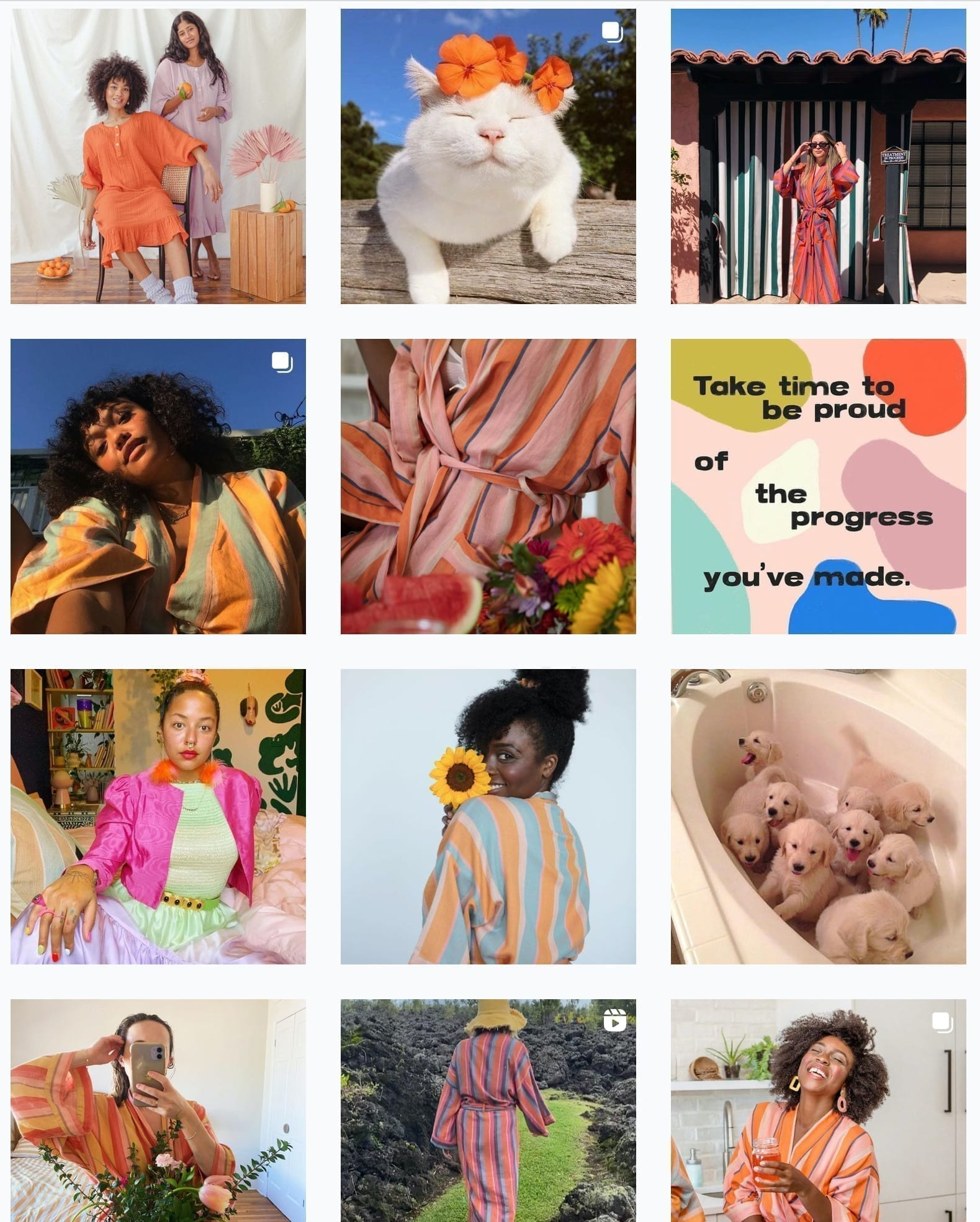 a collection of posts from Bathen's colorful Instagram feed
