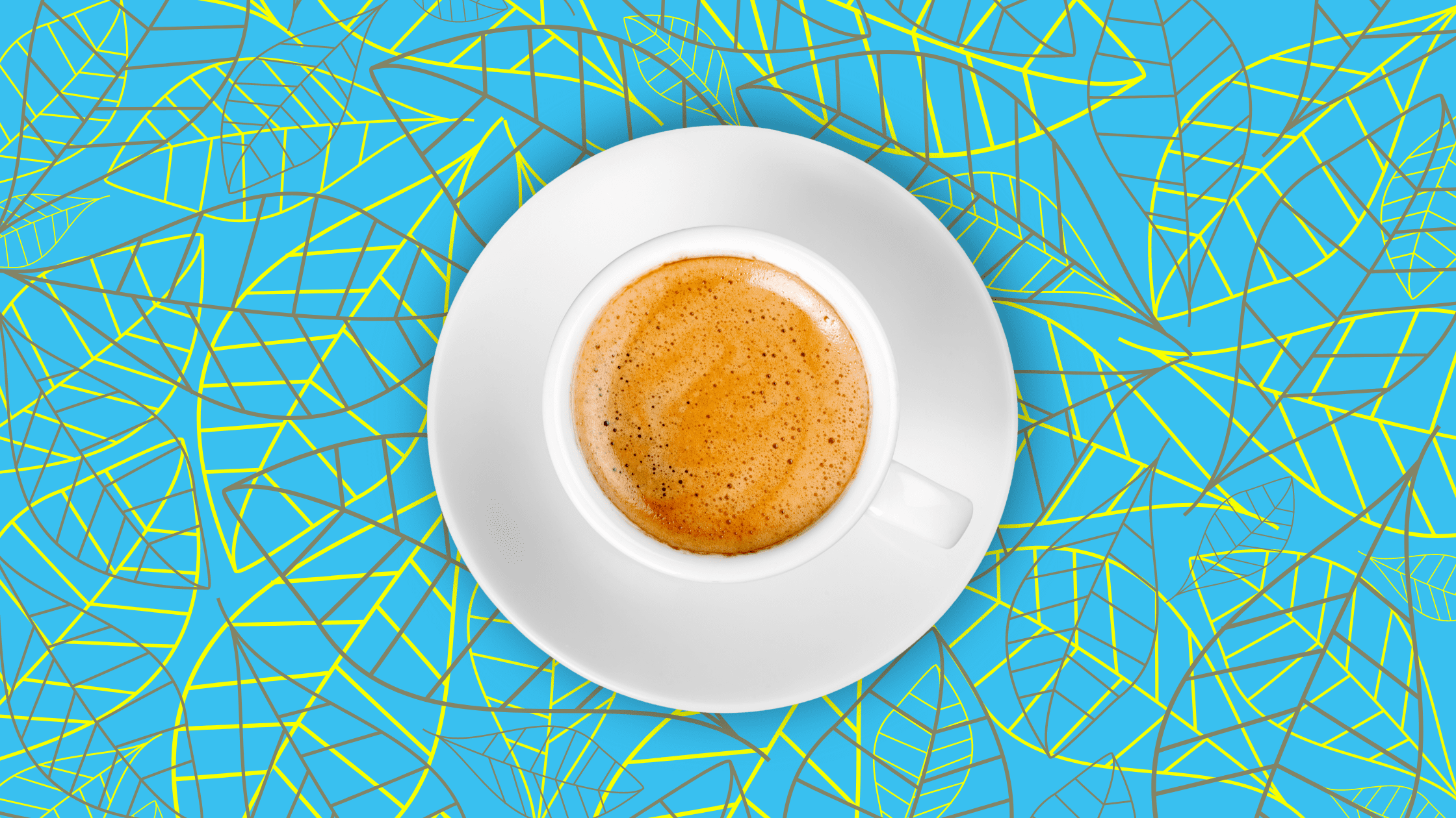 cup of coffee on vibrant background
