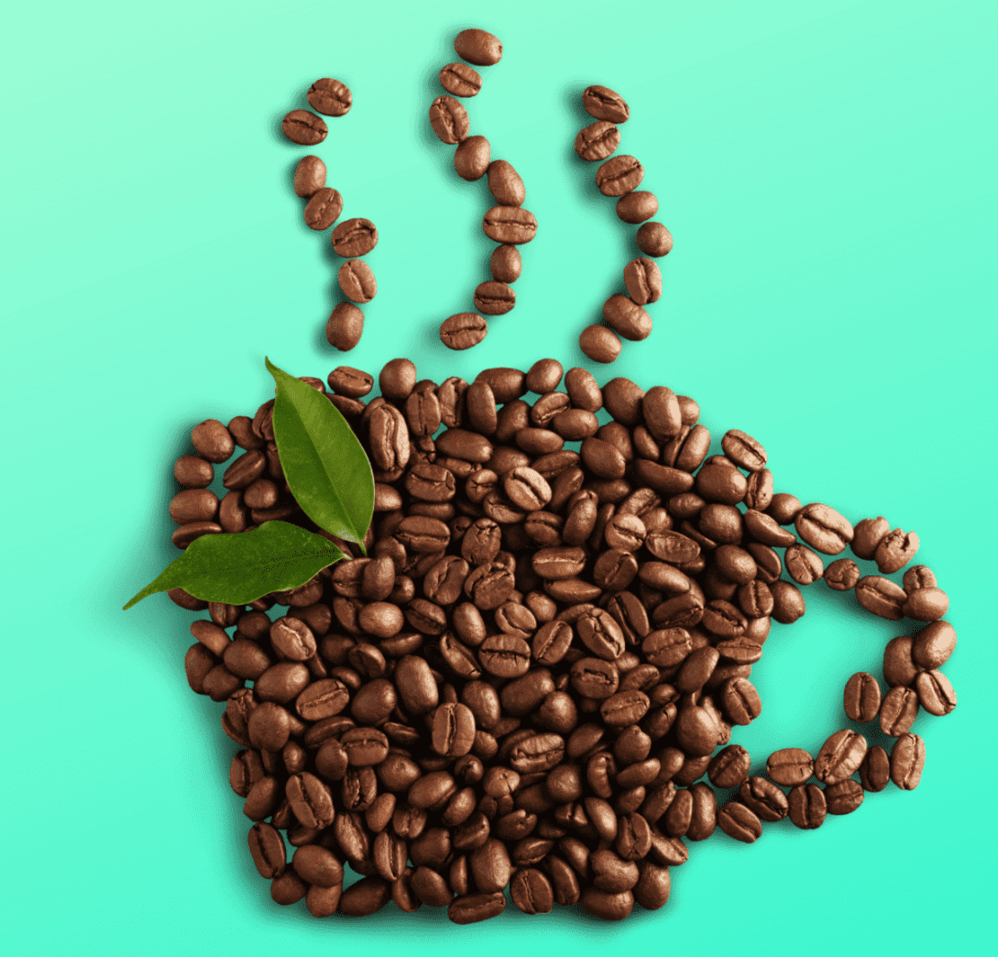 coffee beans in the shape of a steaming cup of coffee